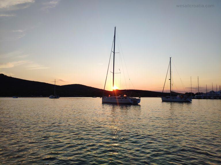 island Ist anchorage sunset Croatia
